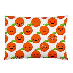 Seamless Background Orange Emotions Illustration Face Smile  Mask Fruits Pillow Case (two Sides) by Mariart
