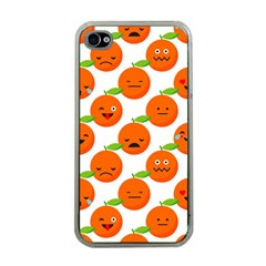 Seamless Background Orange Emotions Illustration Face Smile  Mask Fruits Apple Iphone 4 Case (clear) by Mariart