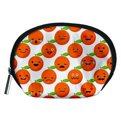 Seamless Background Orange Emotions Illustration Face Smile  Mask Fruits Accessory Pouches (medium)  by Mariart