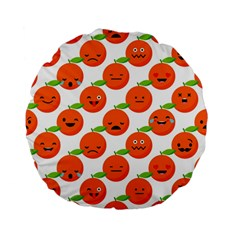 Seamless Background Orange Emotions Illustration Face Smile  Mask Fruits Standard 15  Premium Flano Round Cushions by Mariart