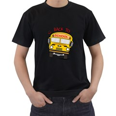 Back To School   School Bus Men s T Shirt (black) (two Sided)