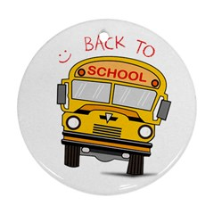 Back To School   School Bus Round Ornament (two Sides) by Valentinaart