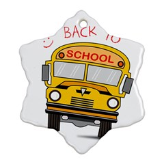 Back To School   School Bus Snowflake Ornament (two Sides) by Valentinaart