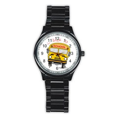 Back To School   School Bus Stainless Steel Round Watch