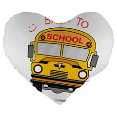 Back To School   School Bus Large 19  Premium Flano Heart Shape Cushions