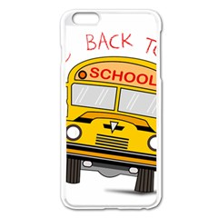 Back To School   School Bus Apple Iphone 6 Plus/6s Plus Enamel White Case by Valentinaart