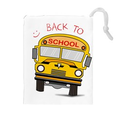 Back To School   School Bus Drawstring Pouches (extra Large) by Valentinaart