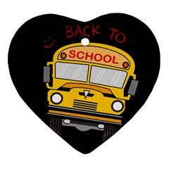 Back To School   School Bus Ornament (heart) by Valentinaart