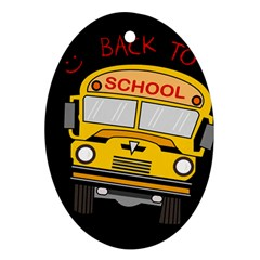 Back To School   School Bus Oval Ornament (two Sides) by Valentinaart
