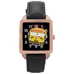 Back To School   School Bus Rose Gold Leather Watch