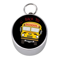 Back To School   School Bus Mini Silver Compasses by Valentinaart