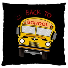Back To School   School Bus Large Flano Cushion Case (two Sides) by Valentinaart