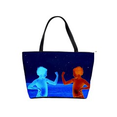 Space Boys  Shoulder Handbags by Valentinaart