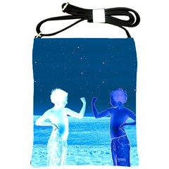 Space Boys  Shoulder Sling Bags by Valentinaart