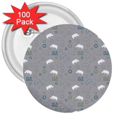 Shave Our Rhinos Animals Monster 3  Buttons (100 Pack)