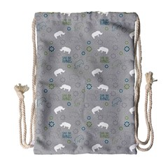 Shave Our Rhinos Animals Monster Drawstring Bag (large) by Mariart