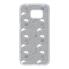 Shave Our Rhinos Animals Monster Samsung Galaxy S7 Edge White Seamless Case by Mariart