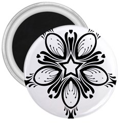 Star Sunflower Flower Floral Black 3  Magnets by Mariart