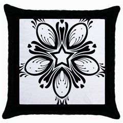 Star Sunflower Flower Floral Black Throw Pillow Case (black) by Mariart