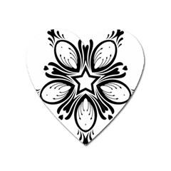 Star Sunflower Flower Floral Black Heart Magnet by Mariart