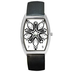 Star Sunflower Flower Floral Black Barrel Style Metal Watch by Mariart