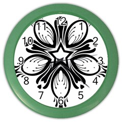 Star Sunflower Flower Floral Black Color Wall Clocks by Mariart