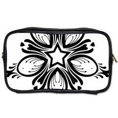 Star Sunflower Flower Floral Black Toiletries Bags by Mariart