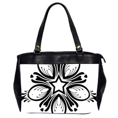 Star Sunflower Flower Floral Black Office Handbags (2 Sides)  by Mariart