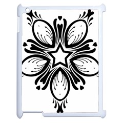 Star Sunflower Flower Floral Black Apple Ipad 2 Case (white) by Mariart
