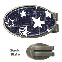 Star Space Line Blue Art Cute Kids Money Clips (oval)  by Mariart