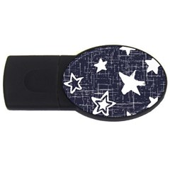 Star Space Line Blue Art Cute Kids Usb Flash Drive Oval (2 Gb) by Mariart