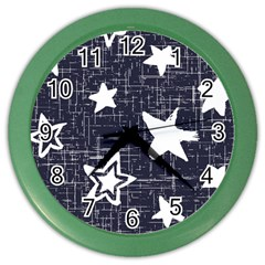 Star Space Line Blue Art Cute Kids Color Wall Clocks by Mariart