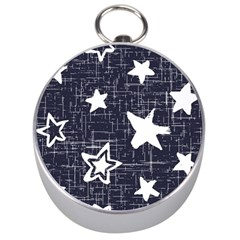 Star Space Line Blue Art Cute Kids Silver Compasses by Mariart