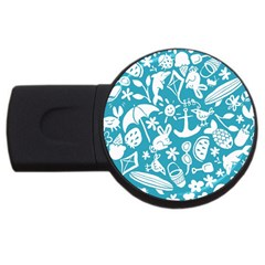 Summer Icons Toss Pattern Usb Flash Drive Round (2 Gb)