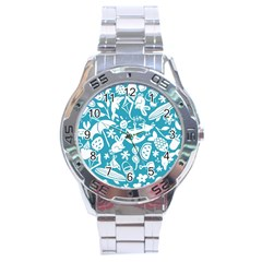 Summer Icons Toss Pattern Stainless Steel Analogue Watch by Mariart