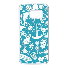 Summer Icons Toss Pattern Samsung Galaxy S7 White Seamless Case by Mariart