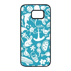 Summer Icons Toss Pattern Samsung Galaxy S7 Edge Black Seamless Case by Mariart