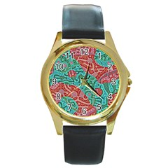 Recursive Coupled Turing Pattern Red Blue Round Gold Metal Watch by Mariart