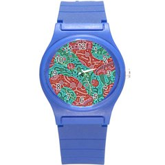 Recursive Coupled Turing Pattern Red Blue Round Plastic Sport Watch (s)