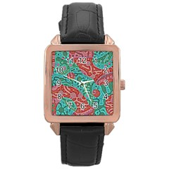 Recursive Coupled Turing Pattern Red Blue Rose Gold Leather Watch  by Mariart