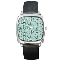 Skull Skeleton Repeat Pattern Subtle Rib Cages Bone Monster Halloween Square Metal Watch by Mariart