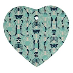 Skull Skeleton Repeat Pattern Subtle Rib Cages Bone Monster Halloween Heart Ornament (two Sides) by Mariart