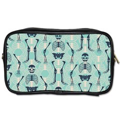 Skull Skeleton Repeat Pattern Subtle Rib Cages Bone Monster Halloween Toiletries Bags by Mariart