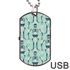 Skull Skeleton Repeat Pattern Subtle Rib Cages Bone Monster Halloween Dog Tag Usb Flash (one Side) by Mariart