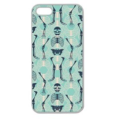 Skull Skeleton Repeat Pattern Subtle Rib Cages Bone Monster Halloween Apple Seamless Iphone 5 Case (clear) by Mariart