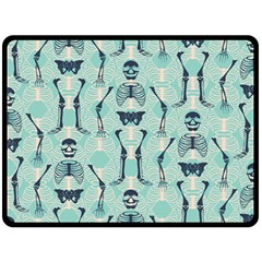Skull Skeleton Repeat Pattern Subtle Rib Cages Bone Monster Halloween Double Sided Fleece Blanket (large)  by Mariart