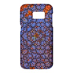 Silk Screen Sound Frequencies Net Blue Samsung Galaxy S7 Hardshell Case  by Mariart