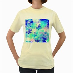 Transparent Colorful Rainbow Blue Paint Sky Women s Yellow T-shirt by Mariart