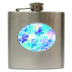 Transparent Colorful Rainbow Blue Paint Sky Hip Flask (6 Oz)