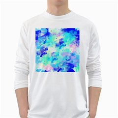 Transparent Colorful Rainbow Blue Paint Sky White Long Sleeve T Shirts
